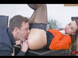 Banging european honey in nylons during lunch hours