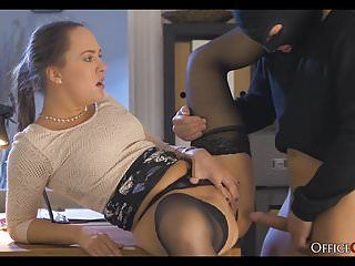 Slutty lady boss copulates thief who broke in her office