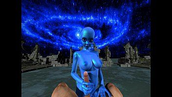Blue alien receives facefucked and stretched