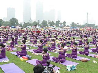 Preggy oriental babes doing yoga non porn