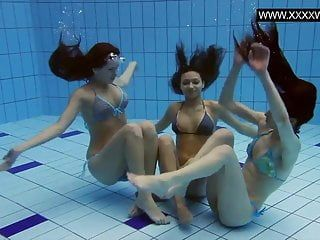 3 sexy strumpets undressed in the pool