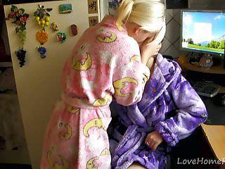2 lesbos in kimonos make a decision to make love